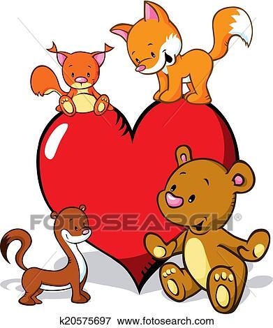 clip art of cute animals cartoon with valentines heart fox bear rh fotosearch com Weasel Clip Art Black and White Weasel Clip Art Black and White