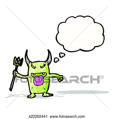 Clipart vilain petit diable dessin anim k22202441 - Coloriage petit diable ...