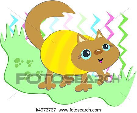 剪贴画 猫, 带, 有条纹, 毛线衫图片