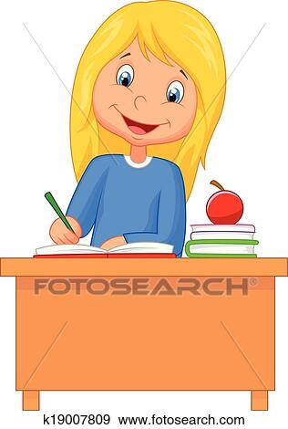 clip art of cartoon girl studying k19007809 search clipart rh fotosearch com  little girl studying clipart