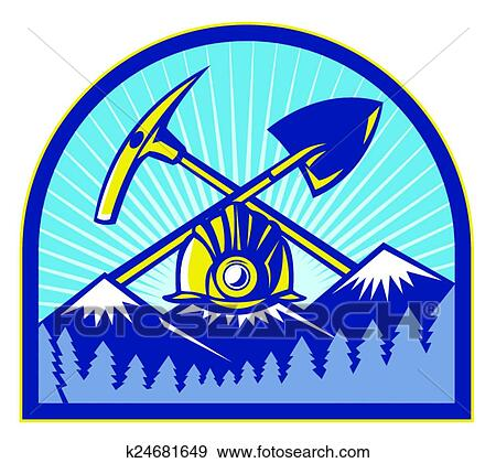 clip art of coal miner hardhat pickaxe mountains k24681649 search rh fotosearch com coal miner clip art free coal mine clip art