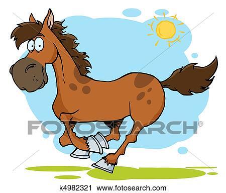 Clipart galoper dessin anim cheval k4982321 recherchez des clip arts des illustrations - Clipart cheval ...