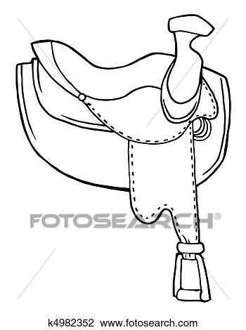 Clipart of outlined horse saddle k4982352 search clip for Sillas para colorear