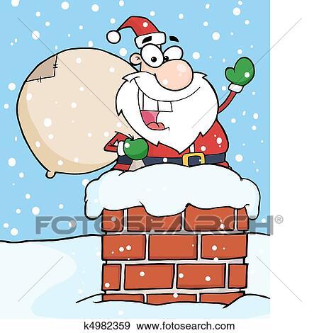 剪贴画 圣诞老人, 在中, 烟囱, 摇动