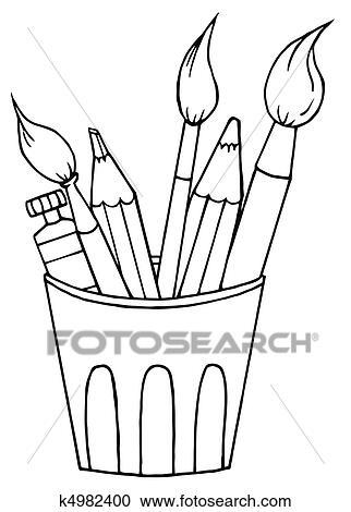Pinsel clipart schwarz weiß  Clipart - becher, von, bleistifte, und, pinsel k4982400 - Suche ...