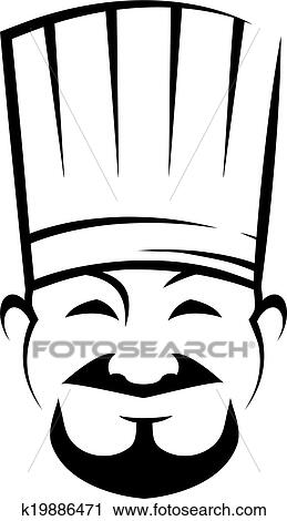 clipart of smiling chinese chef with a goatee beard k19886471