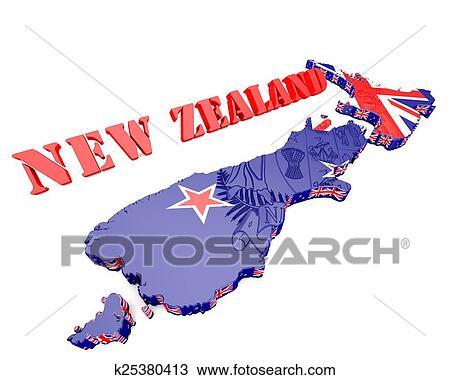 地囹kΈ�_手绘图 - 地图, 描述, 在中, 新西兰 k25380413 - 及