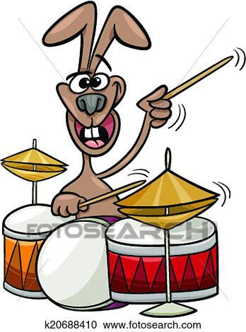Clipart conejito jugar los tambores caricatura for Scarica clipart