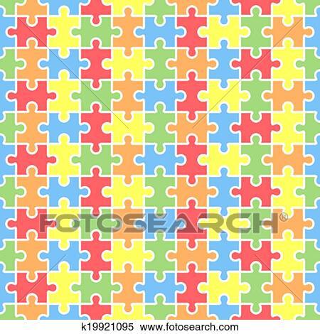 Clipart jigsaw seamless puzzle vuoto template - Collegamento stampabile un puzzle pix ...