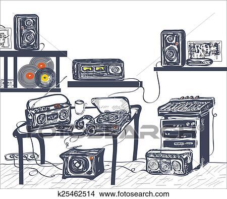 手, 画, 音乐的设备, 在中, 记录工作室, 手, 画, 描述图片