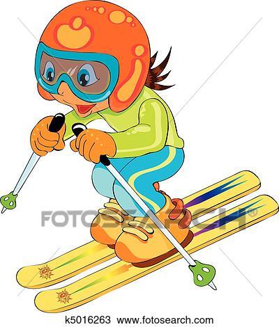Clipart of child in ski k5016263 - Search Clip Art ...