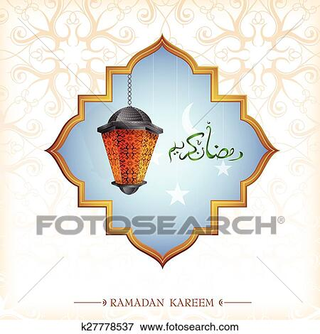 Clip art of ramadan greeting card design with lantern k27778537 ramadan traditional lantern on greeting card eps 10 file m4hsunfo