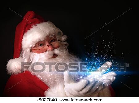 Banques de Photographies - santa, tenue, magique, lumières, dans, mains. Fotosearch - Recherchez des Photos, des Images et des Cliparts
