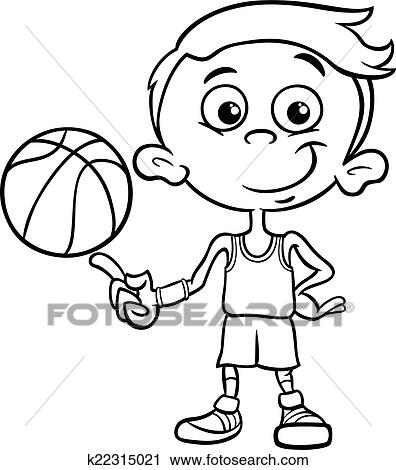 Clipart Of Boy Basketball Player Coloring Page K22315021