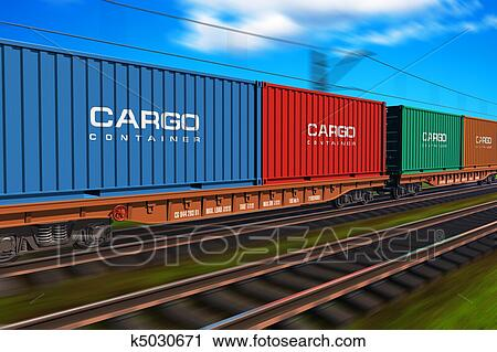 Stock Photography - Freight train with cargo containers. Fotosearch - Search Stock Photos, Pictures, Prints, Images, and Photo Clip Art