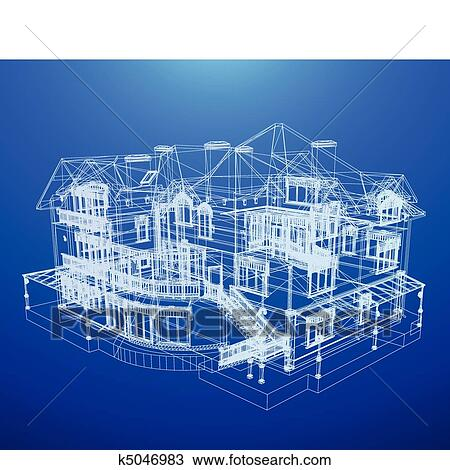 Clipart of architecture blueprint of a house k5046983 search clip architecture blueprint of a house over a blue background malvernweather Gallery