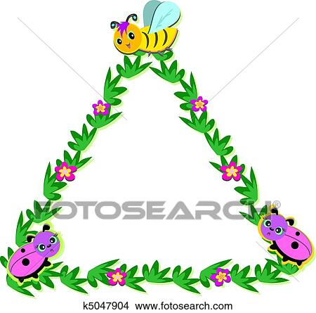 clipart triangle nature frame with bees and fotosearch search clip art illustration