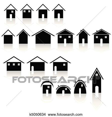 剪贴画 很少, 黑色, 房子, 矢量, illustrat