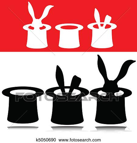 Clipart of magic hat vector silhouettes k5050690 - Search ...
