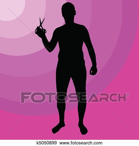 Clip Art of man holding scissors k5050899 - Search Clipart ...