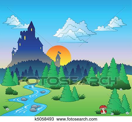 剪贴画 - 童话, 风景,