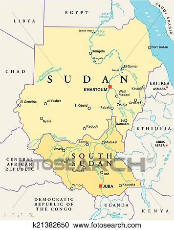 Clipart of Sudan and South Sudan Political Map k21382650 Search