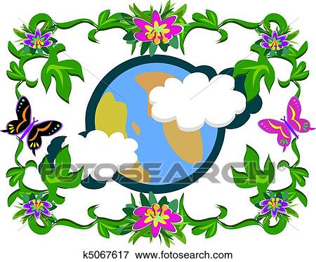 clip art of frame of nature with mother earth k5067617 search rh fotosearch com nature clipart images natural clip art