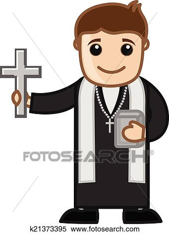 Clipart of Cartoon Christian Priest Vector k21373395 - Search Clip ...