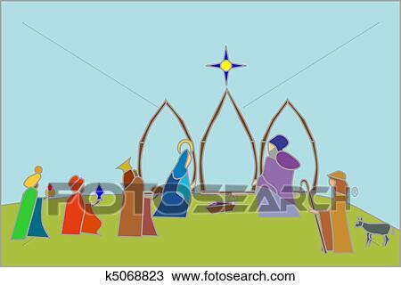 Clipart of nativity scene k5068823 - Search Clip Art, Illustration ...
