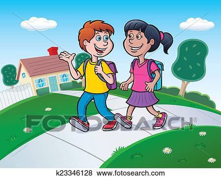 Stock Illustration of Two Kids Walking To School k23346128 ...