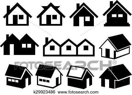 Haus clipart schwarz weiß  Clip Art - schwarz weiß, satteldach, haus- ikone, satz k29923486 ...