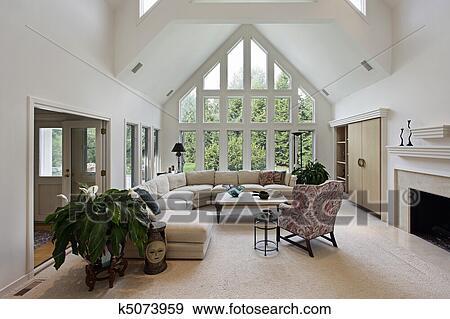 stock fotograf wohnzimmer mit boden to decke windows k5073959 suche stock fotografie. Black Bedroom Furniture Sets. Home Design Ideas