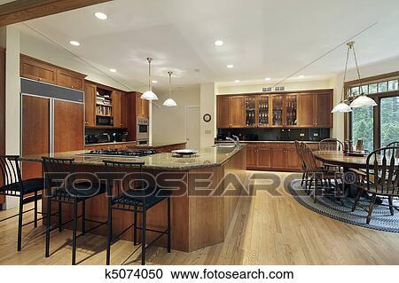 Stock fotografie keuken met l gevormd centrum eiland k5074050 zoek stockfoto 39 s - Centrum eiland keuken ...