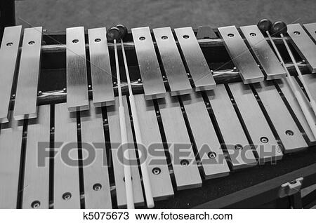 Stock Photo of Percussion vibes with mallets in black and ...