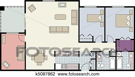Clipart of Floor plan of two bedroom condo k Search Clip