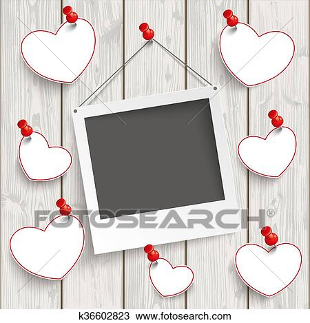 Cool Drawing Instant Photo Frame Hanging Hearts Wood Fotosearch Search Clipart With Picture