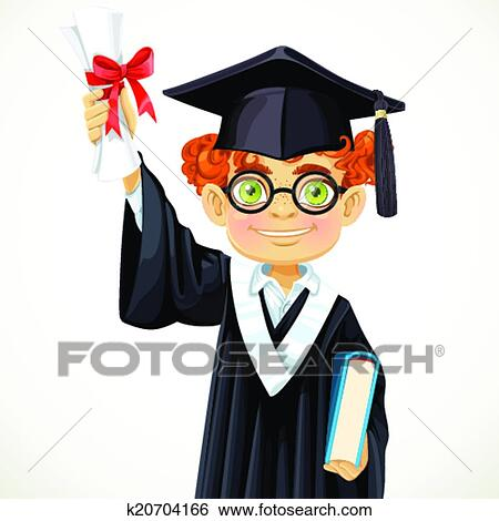 clip art of happy student redhead boy in glasses holding a diploma  clip art happy student redhead boy in glasses holding a diploma and book fotosearch