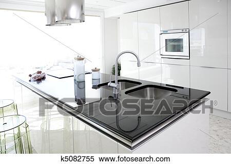 stock afbeelding - hippe, witte, keuken, schoonmaken, Deco ideeën