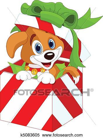 剪贴画 小狗, 在中, a, 圣诞节, 礼物盒子