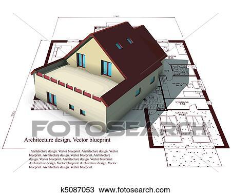 Haus bauen clipart  Clipart - architektur, modell, haus, oben, pläne k5087053 - Suche ...