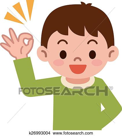clipart of boy has the ok sign k26993004 search clip art rh fotosearch com ok clipart free ok clipart png