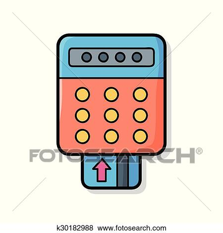 clip art of credit card machine doodle k30182988 search clipart rh fotosearch com credit card clipart png credit card machine clipart