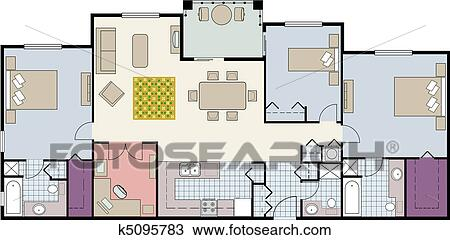 Clipart of Floor plan of three bedroom condo k Search