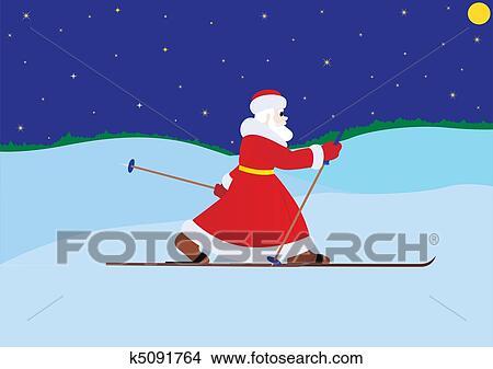 剪贴画 - 圣诞老人, 在上