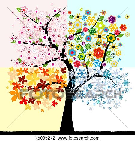 Four seasons Clip Art and Illustration. 4,559 four seasons clipart ...