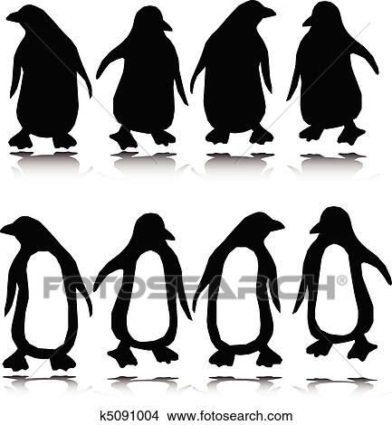 clipart of penguin vector silhouettes k5091004 - search clip art