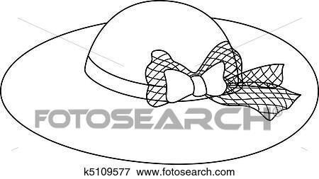Clipart femme chapeau a arc contours k5109577 for 510k template