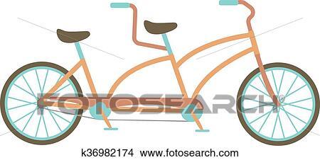 Clipart Of Tandem Bike Vector Illustration K36982174