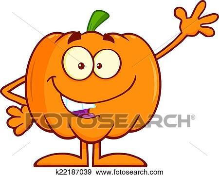 clip art of funny halloween pumpkin waving k22187039 search rh fotosearch com Funny Halloween Clip Art Black and White funny halloween clipart free