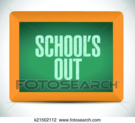 Clipart of schools out blackboard illustration design k21502112 ...